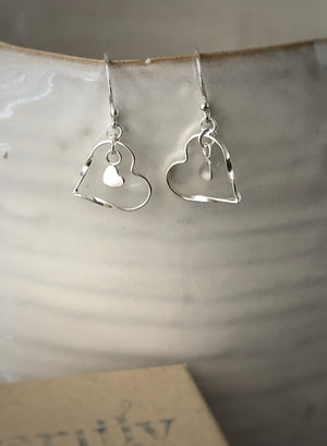 Sterling Silver Tiny Heart Earrings Tiger Lily London