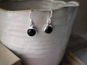 Black Onyx Round Sterling Silver Drop Earrings