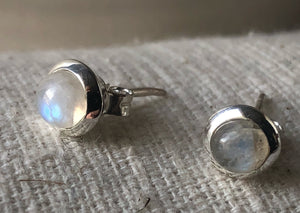 Small Moonstone Sterling Silver Stud Round Earrings Tiger Lily London
