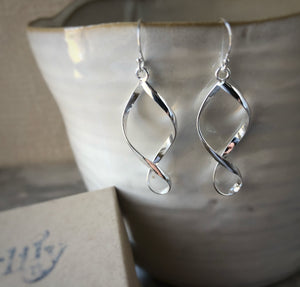 Silver Wave Spiral Earrings