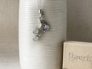 Triple Moonstone Sterling Silver Pendant Necklace Tiger Lily London