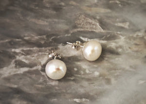 Pearl Sterling Silver Stud Earrings Tiger Lily London