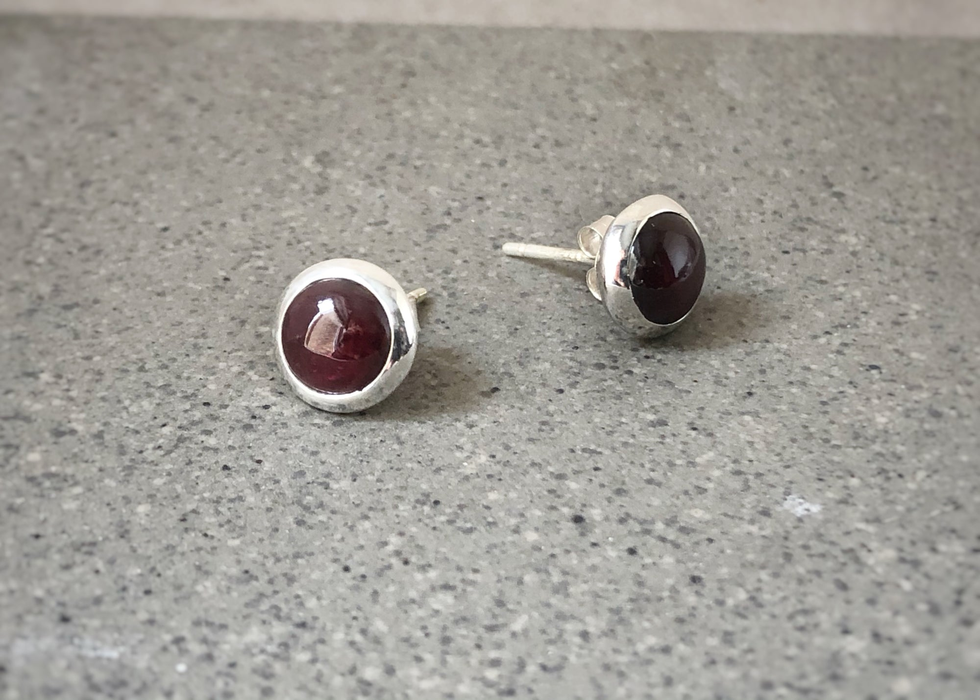 Garnet Round Silver Stud Earrings