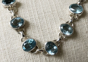Blue Topaz Stone Silver Bracelet Tiger Lily London