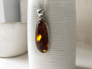Baltic Toffee Amber Sterling Silver Medium Pendant Necklace Tiger Lily London