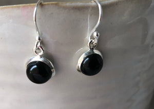 Black Onyx Round Silver Drop Earrings