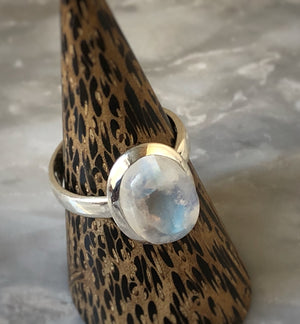 Medium Moonstone Sterling Silver Ring Tiger Lily London