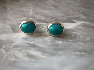 Turquoise Oval Silver Stud Earrings