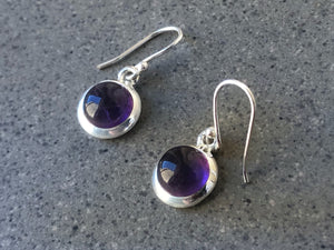 Medium Amethyst Round Silver Drop Earrings