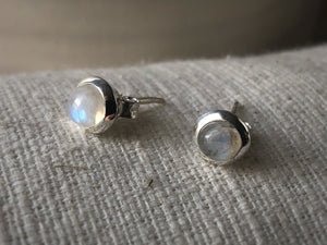 Small Moonstone Sterling Silver Stud Round Earrings
