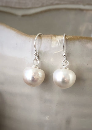 Pearl Sterling Silver Drop Earrings Tiger Lily London