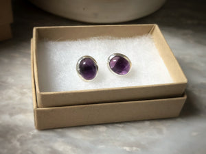 Sterling Silver Amethyst Gemstone Oval Stud Earrings
