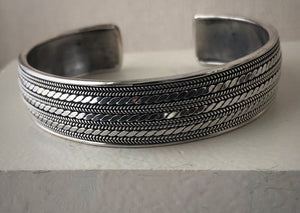 Sterling Silver Decorative Cuff Bangle Tiger Lily London