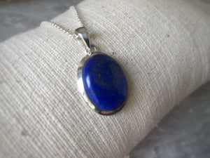 Large Blue Lapis Sterling Silver Pendant Necklace Tiger Lily London