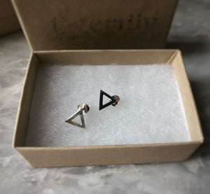 Sterling Silver Geometric 8mm Triangle Studs Tiger Lily London