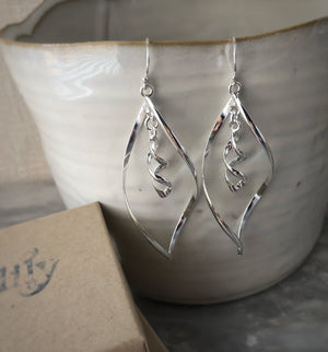 Sterling Silver Teardrop Spiral Earrings Tiger Lily London