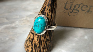 Medium Turquoise Sterling Silver Ring Tiger Lily London