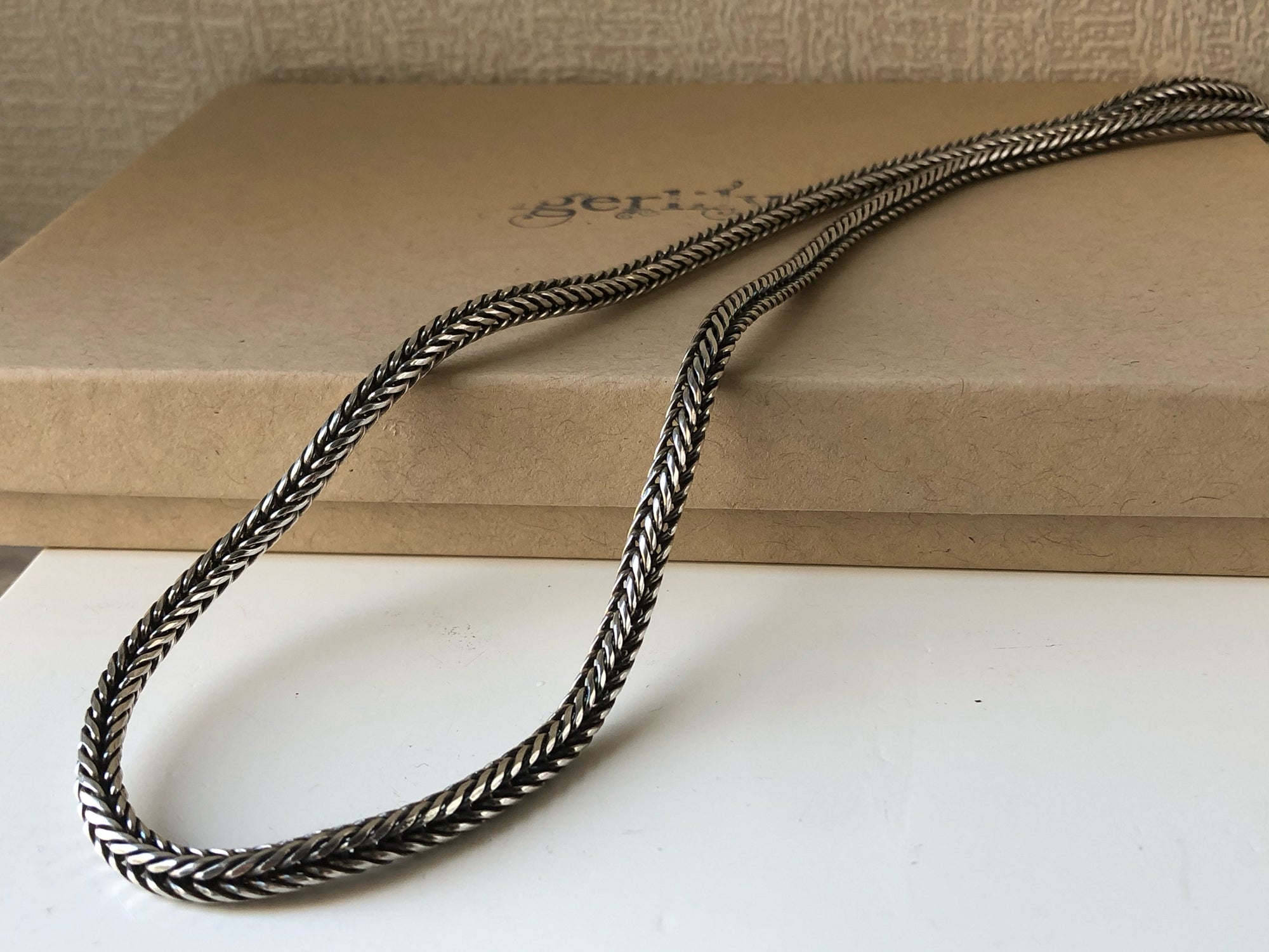 "Sterling Silver Rope Unisex Snake Chain 21.5"" Tiger Lily London"