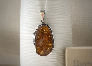 Baltic Amber Large Sterling Silver Pendant Necklace Tiger Lily London