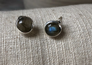 Medium Labradorite Round Sterling Silver Stud Earrings Tiger Lily London