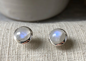 Medium Moonstone Sterling Silver Stud Round Earrings Tiger Lily London