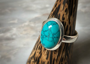 Large Turquoise Sterling Silver Ring Tiger Lily London