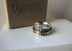 Brass, Copper and Sterling Silver Karma Spinning Ring Tiger Lily London