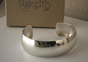Sterling Silver Solid Cuff Bangle Tiger Lily London