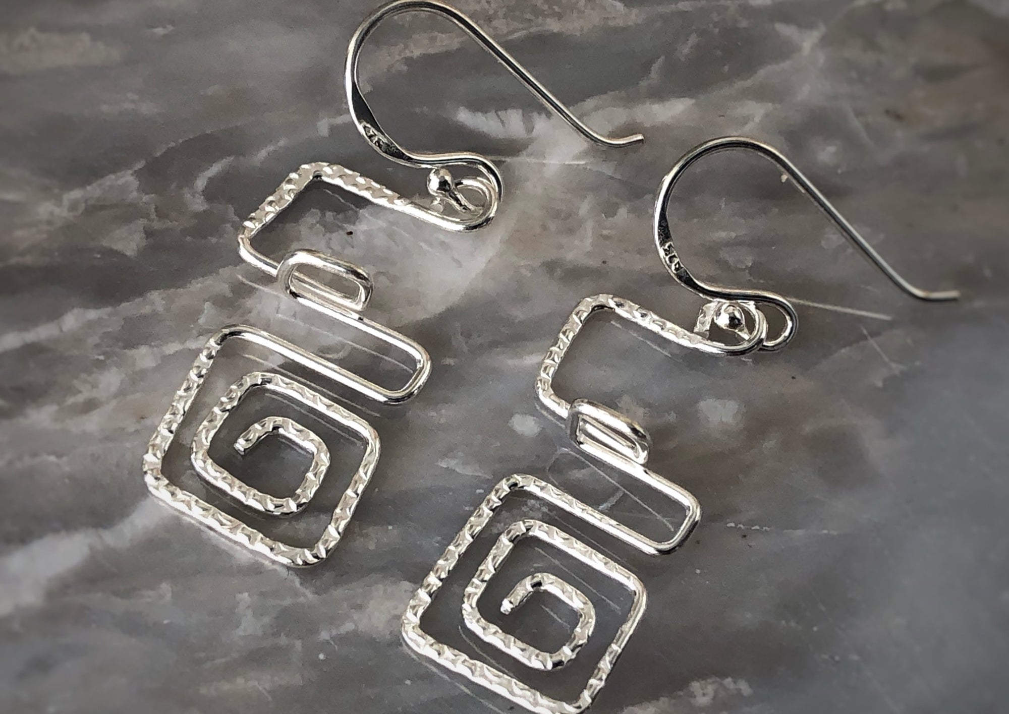 Silver Aztec Square Earrings