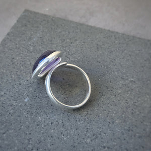 Large Amethyst Adjustable Silver Ring
