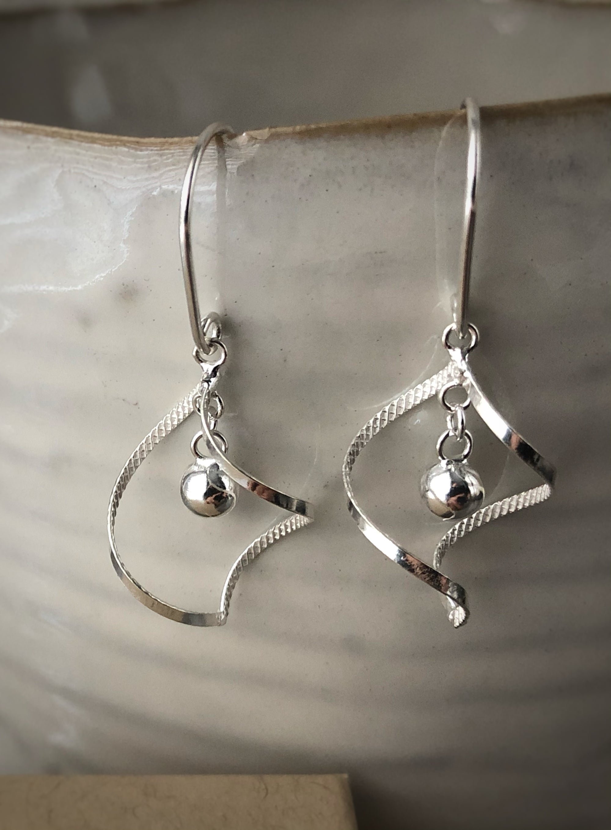 Silver Elegant Spiral with Hanging Ball Earrings