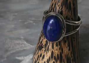Large Blue Lapis Sterling Silver Ring Tiger Lily London