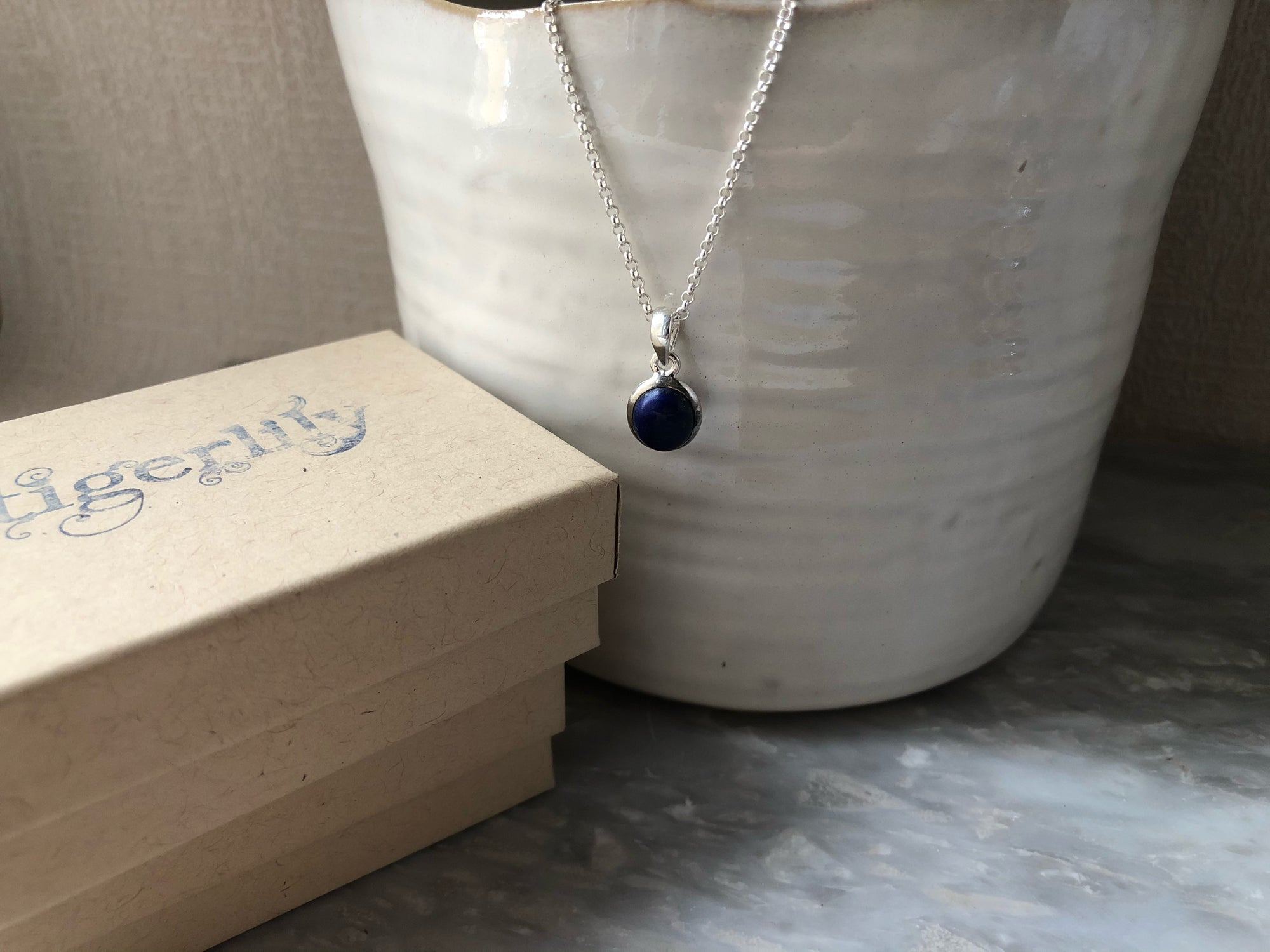 Small Blue Lapis Sterling Silver Pendant Necklace Tiger Lily London