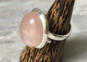 Large Rose Quartz Silver Ring