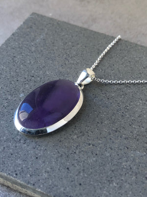 Large Amethyst Sterling Silver Pendant Necklace