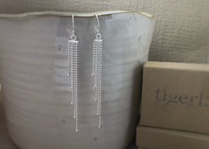 Sterling Silver Multi-Chain Earrings Tiger Lily London