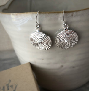 Sterling Silver Spiral Disc Earrings Tiger Lily London