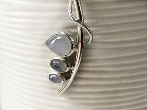 Triple Moonstone Curve Sterling Silver Pendant Necklace Tiger Lily London