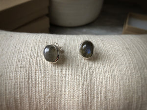 Labradorite Oval Sterling Silver Stud Earrings Tiger Lily London