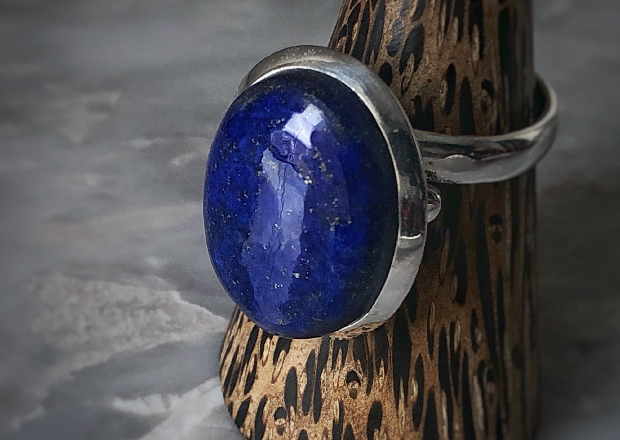 Extra Large Blue Lapis Sterling Silver Ring Tiger Lily London