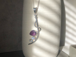 Amethyst and Moonstone Silver Wave Pendant Necklace