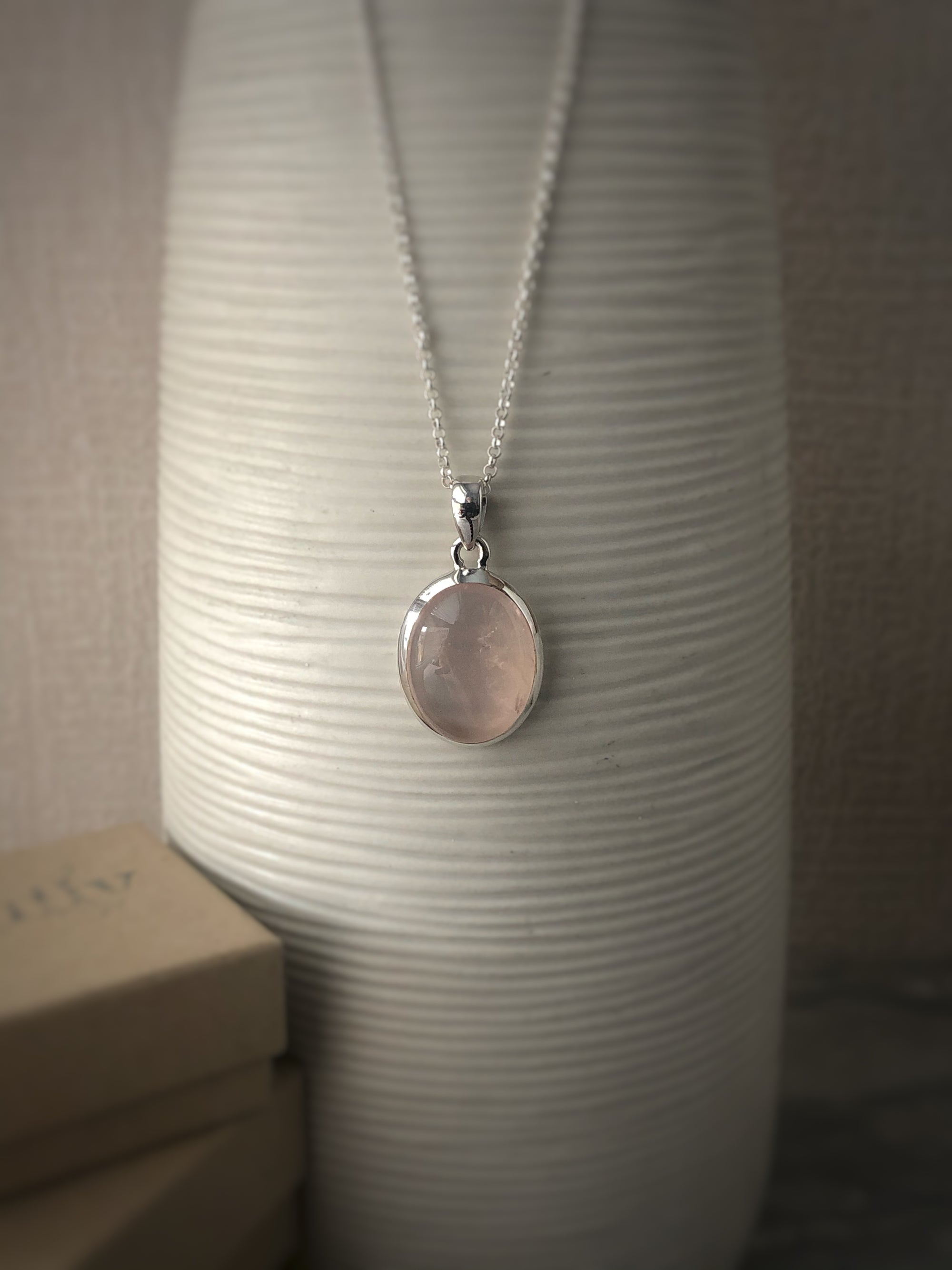 Small Rose Quartz Sterling Silver Pendant Necklace Tiger Lily London