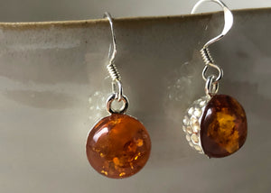 Baltic Amber Hammered Sterling Silver Earrings Tiger Lily London