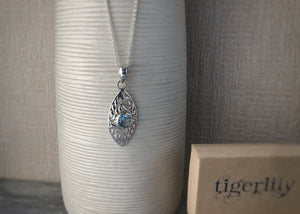 Blue Topaz Filigree Sterling Silver Pendant Necklace Tiger Lily London