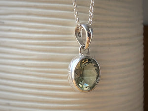Green Amethyst Small Silver Pendant Necklace