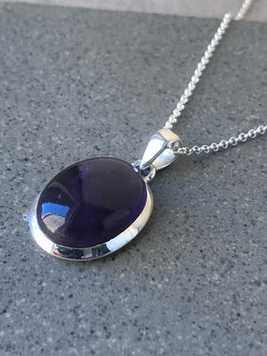 Small Amethyst Sterling Silver Pendant Necklace