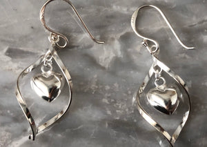 Sterling Silver Spiral Dangling Heart Earrings Tiger Lily London