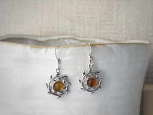Baltic Amber Mandala Sterling Silver Earrings Tiger Lily London
