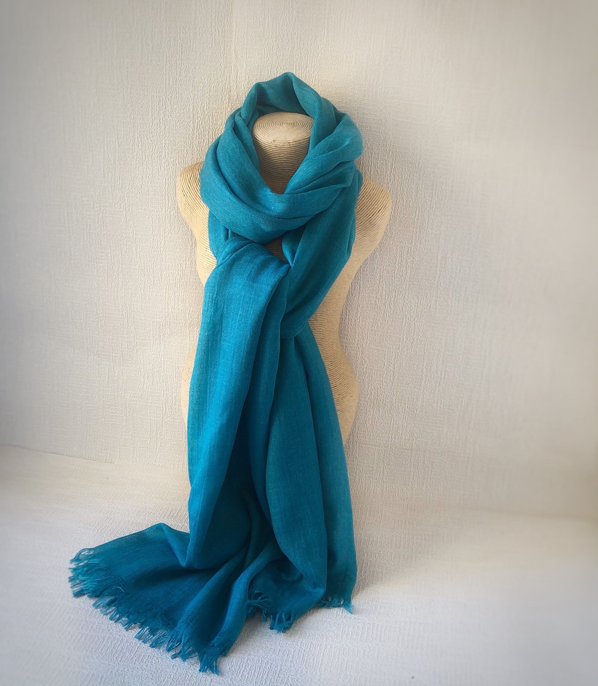 Teal Blue Wool Cotton Scarf