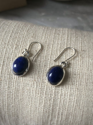 Blue Lapis Oval Sterling Silver Drop Earrings